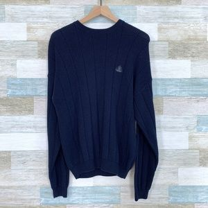 Ribbed Crewneck Sweater Cotton Blue IZOD